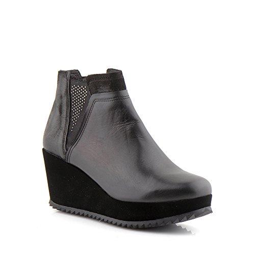 Felmini - Zapatos para Mujer - Enamorarse com Zepa 1104 - Bota de cuña - Cuero Genuino - Negro Negro