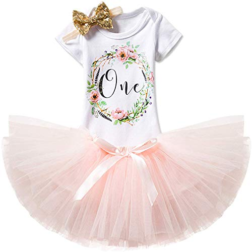 Halloween Party Ideas 18-year-olds (TTYAOVO Girl Skirt Newborn 3pcs Baby's 1st Birthday Set/Outfits with Romper + Tutu Dress + Headband Size 1 Years Peach(with)