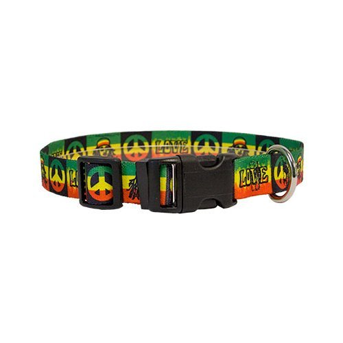 "Rasta Dog Collar - Size Medium 14"" to 20"" Long - Made In The USA"