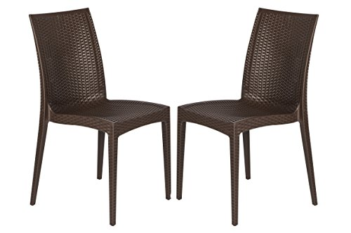 LeisureMod Modern Weave Design Mace Indoor/Outdoor Dining Chair, Brown, Set of 2 (Wire Outdoor Chairs)