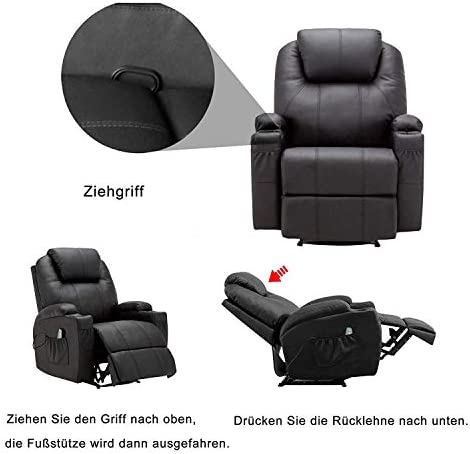 MCombo Massage Armchair Recliner Black with Heating Swivel Swing