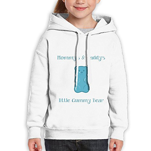 Vintopia Boy Mommy's & Daddy's Little Gummy Bear Leisure Jogging White Hoodie L (Ucla Teddy Bear)