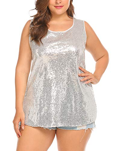 IN'VOLAND Womens Sequin Top Plus Size Tank Tops Sparkle Glitter Party Summer Sleeveless T Shirts Tunics Silver -