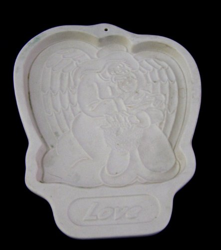 Longaberger Pottery Cookie Mold: 1995 Angel Series - Love