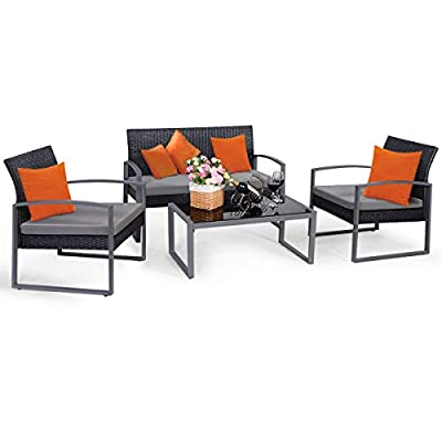 Tangkula 4 PCS Outdoor Patio Furniture Rattan Wicker Conversation Set, As pic - Attractive appearance: equipped with 1 loveseat, 2 chairs and 1 Coffee Table, It is made up with solid steel frame and PE wicker with sponge cushions ensuring a long lifetime. Its stylish armrests and moderate-reclining backrest double the comfort for you to totally relax yourself and make it more eye-catching. Easy carry: Made of lightweight Rattan material, it can be carried easily and labor-efficiently to the desired place. Its compact structure and beautiful texture can surprisingly highlight your patio or poolside Deco. Moment to clean: table with removable tempered glass adds a sophisticated touch and allows you to places drinks, meals and other accessories on top. And you can clean it easily with just a wipe when there is water strain on it. The separable Seat cushion also enables you a quick wash. - patio-furniture, patio, conversation-sets - 41Y26btgDvL. SS400  -
