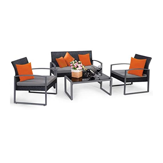 Tangkula 4 PCS Outdoor Patio Furniture Rattan Wicker Conversation Set, As pic - Attractive appearance: equipped with 1 loveseat, 2 chairs and 1 Coffee Table, It is made up with solid steel frame and PE wicker with sponge cushions ensuring a long lifetime. Its stylish armrests and moderate-reclining backrest double the comfort for you to totally relax yourself and make it more eye-catching. Easy carry: Made of lightweight Rattan material, it can be carried easily and labor-efficiently to the desired place. Its compact structure and beautiful texture can surprisingly highlight your patio or poolside Deco. Moment to clean: table with removable tempered glass adds a sophisticated touch and allows you to places drinks, meals and other accessories on top. And you can clean it easily with just a wipe when there is water strain on it. The separable Seat cushion also enables you a quick wash. - patio-furniture, patio, conversation-sets - 41Y26btgDvL. SS570  -