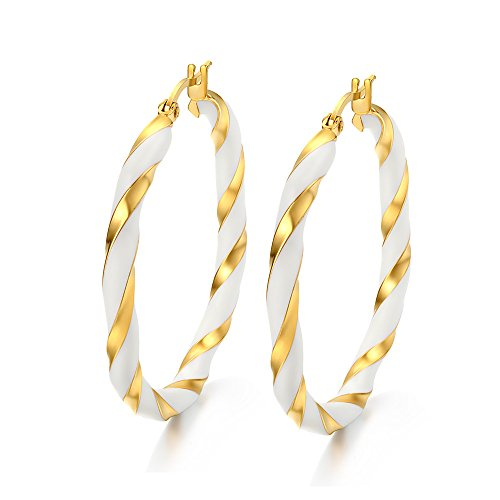 MG Jewelry Stainless Steel Women's White&18k Gold Plated Twist Rope Click-Top Big Hoop Earrring