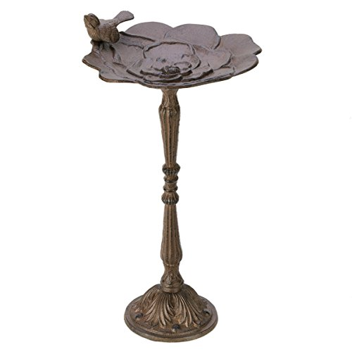 Outdoor garden decor with Rustic Iron Birdbath (Outdoor Pedestal Clock Thermometer)