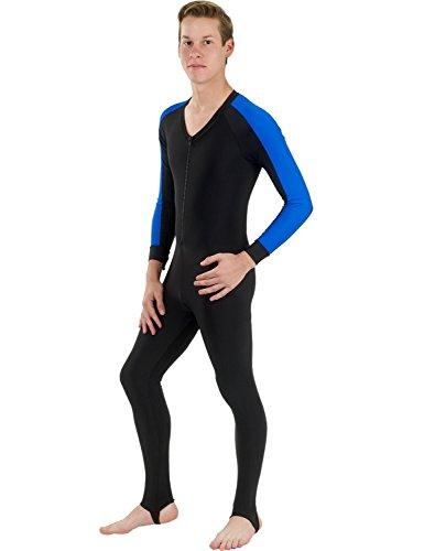 Skins Full Dive - Phantom Aquatics Snorkeling Swim Lycra Skin Full Suit Wetsuit, Black/Blue, Medium