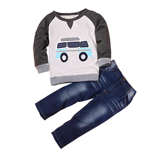 DaySeventh Toddler Boys Outfit Clothes Car Print T-shirt Tops+Long Jeans Trousers 1Set (Size:3T Label Size:90, Gray) -