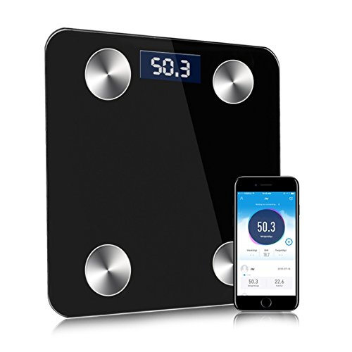 Bluetooth Smart Body Scale, Hoolick Wireless Body Fat Monitor for Weight,Body Fat,Visceral Fat,Muscle,Bone,Bmr,Bmi,Body Water (B) by Hoolick