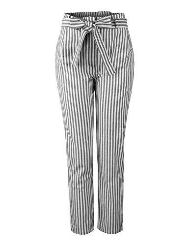 (makeitmint Women's Waist Ribbon Belt Stripe Long Pants w/Pockets [4 Colors] YBP0013-BLACK-SML)