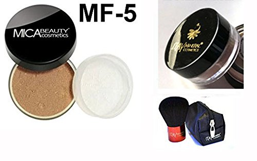 - Mica Beauty(micabella) Mineral Foundation Mf-5 Cappuccino for Tan Skin+ Sample Size Foundation +Wine Red High Quality Kabuki