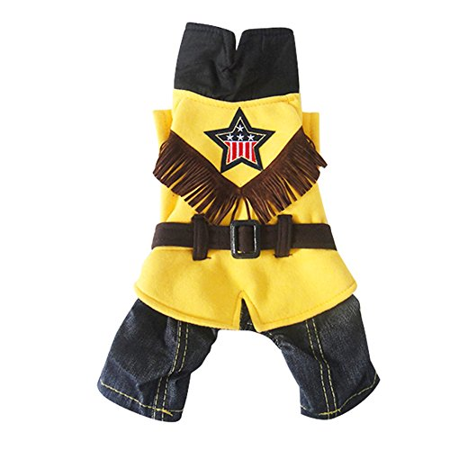 Lumber Jacket Costume (Fenarzo Cowboy Costume for Small Dogs (XL, A-Yellow))