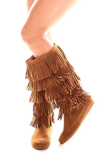 Lolli Couture For Alltid Womens Candice-88 Fringe Faux Suede Mote Støvler Tan88