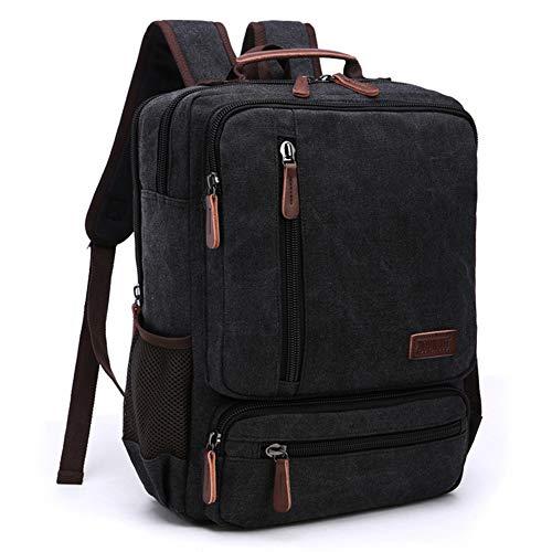 8042e2a0b6 Canvas School Backpack- Vintage Canvas Laptop Backpacks- Men s Large  Multipurpose Travel Bag (Black
