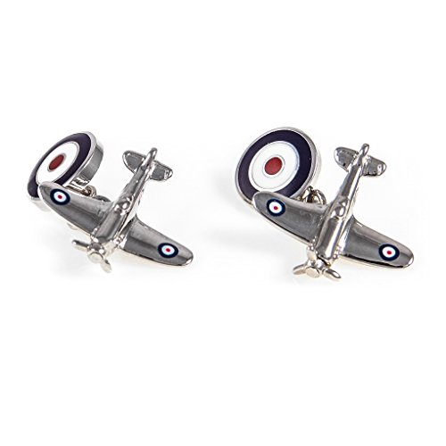 MRCUFF Airplane Plane Spitfire Jet Fighter Bomber Pilot Pair Cufflinks Presentation Gift Box & Polishing Cloth