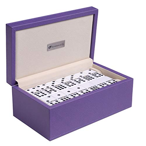Silverman & Co. Double 9 Large White Domino Set - Purple Case -