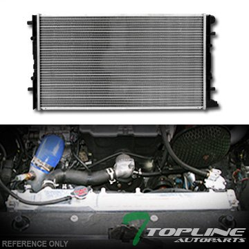Volkswagen Beetle Turbo (Topline Autopart Aluminum Core Replacement Radiator Cooler For AT Automatic MT Manual Transmission For 98-11 Volkswagen Beetle Turbocharged Cabrio 1.8L 1.9L 2.0L 2.5L L4 L5 Engine DPI 2241)