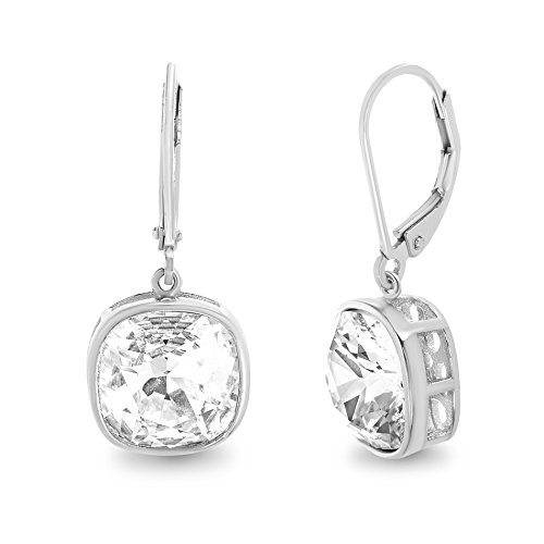 Devin Rose Womens Cushion Dangle Drop Leverback Earrings Made With Swarovski Crystals in Sterling ()
