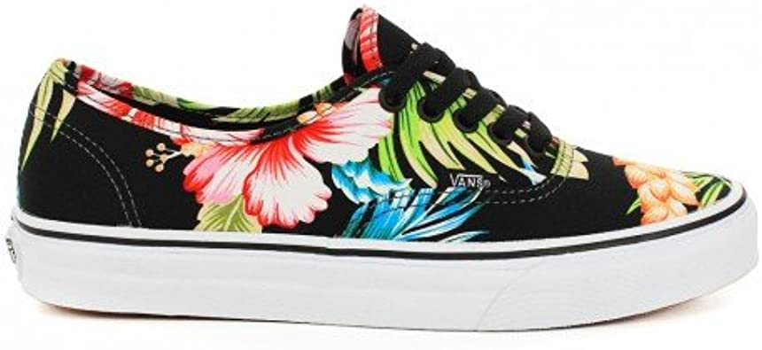 Basket Vans Authentic Noir à Motif Fleur Hawaiennes: Amazon ...