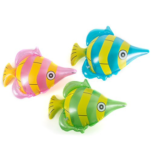 Fun Central (AZ901) 12pack 14inch Inflatable Tropical Fish Toy, Fun Toys, Inflatable Toys, Toy Inflatable, Inflatable Beach Toys, Toy Fish - (Fun Fish)