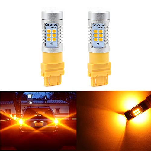 3057 3156 3157 4057 4157 Turn Signal Light 21-SMD Extremely Bright Amber Yellow LED Bulb 2835 Chips Lights Lamps (Set of 2)