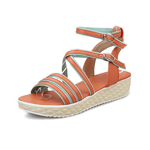 AllhqFashion Womens Open Toe Low-Heels Soft Material Assorted Color Buckle Wedges-Sandals Orange 4pV8EiMok