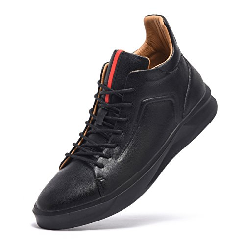ARTISURE Men's Classic Black Genuine Leather High-Top Casual Sneakers Fashion Ankle Boots 10 M US SKS-1019HEI100 by ARTISURE (Image #1)