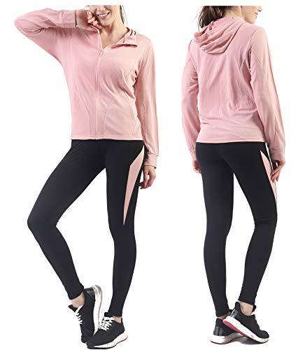 Activewear Sets for Women-Track Leggings Pants Hoodie Jackets 2 Piece Set Tracksuits Yoga Outfit Jogging Workout Set Gymwear (Juniors Sweatsuits)