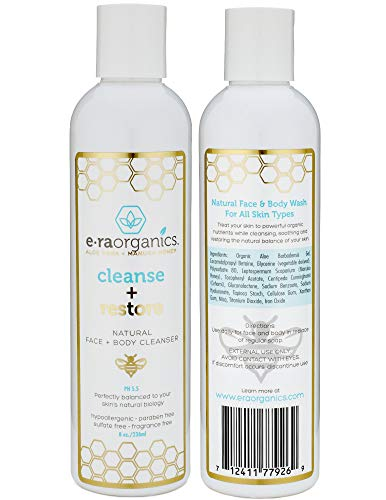 Natural Moisturizing Face Wash - Gentle Sulfate Free Facial Cleanser and Body Wash with Organic Aloe Vera & Manuka Honey for Dry, Oily, Damaged, Sensitive Skin. Ph Balanced, Non Toxic 8oz Era-Organics (The Best Organic Face Wash)