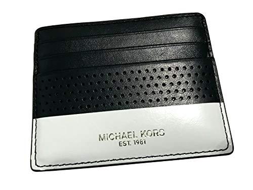 (Michael Kors Warren & Kent Sports Mens Leather Holder Wallet Tall Card Case (Black/White))