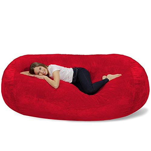 (Chill Sack Bean Bag Chair: Huge 7.5' Memory Foam Furniture Bag and Large Lounger - Big Sofa with Soft Micro Fiber Cover - Red Furry)