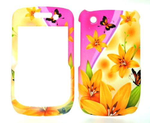 Yellow Spring Flower Rubberized Snap on Hard Skin Faceplate Cover Case for Blackberry Curve 8520 8530 ()