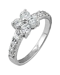 Sterling Silver Flower Pave Cubic Zirconia Ring Size: 6