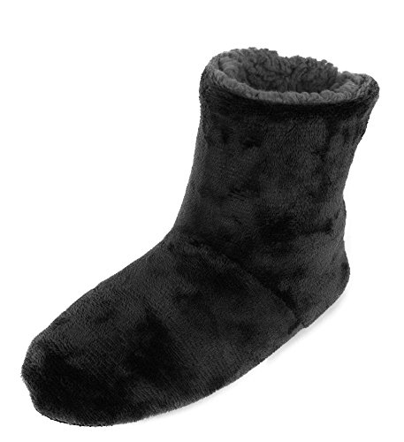 Leisureland Solid Men's Fleece Lined Cozy Bootie Slippers L/XL(11-12 US), Black by Leisureland