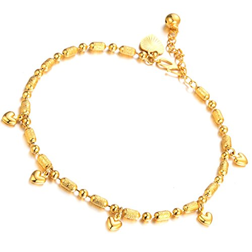 Aienid 18k Gold Plated Italy Anklets Heart Pendant Charm Frosted Sex Foot Chain for Women]()
