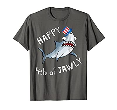 Funny Fourth of July Shark Shirt for Kids Happy 4th of Jawly