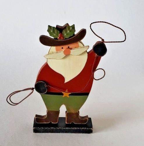 JWM Sample Sale Cowboy Santa Claus w/Lasso Wood Christmas Decor 6