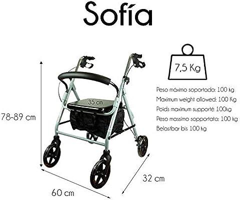 Mobiclinic, Modelo Sofía, Andador para ancianos, minusvalidos, adultos o mayores, de aluminio, ligero, plegable, con asiento y 4 ruedas. Color Gris