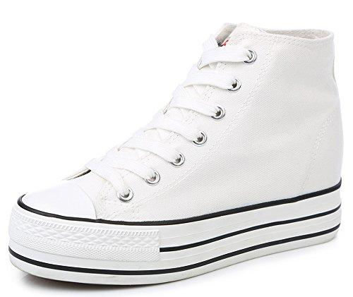 Idifu Kvinna Tillfälliga Höga Topp Plattform Tygskor Snöra Upp Sneakers Plimsolls Med Hälen Vit