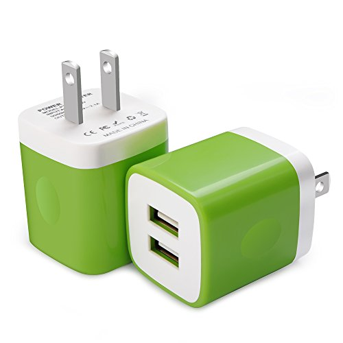 Charger Base, FiveBox 2Pack Dual Port USB Wall Charger Brick Plug 2.1A Charging Cube Block Phone Charger Box for Android, iPhone 8/X/6/6s/7s Plus, iPad, Samsung S9 S8 S7 S6 Note 8 5, LG, ZTE-Green