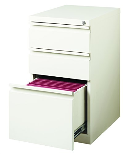 (Hirsh 20 in Deep 3 Drawer Mobile File Cabinet in White)