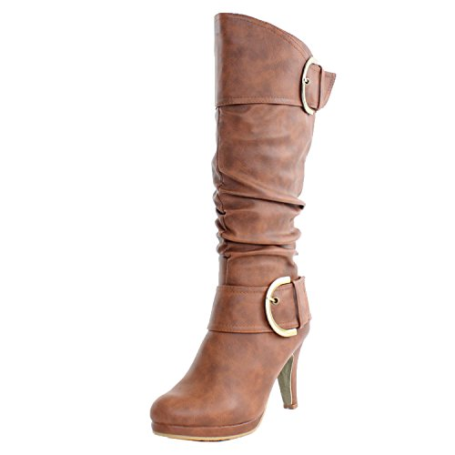 - TOP Moda Womens Page-22 Knee High Round Toe Buckle Slouched Low Heel Boots, Tan, 10