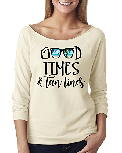 Good Times Tan Lines Sunglasses Beach Off The Shoulder Top Ivory - Tan Sunglasses Line