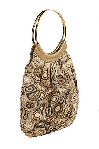 Pochette AC 822 Multicolor, borsetta con manici in metallo in tessuto con decorazioni in perline