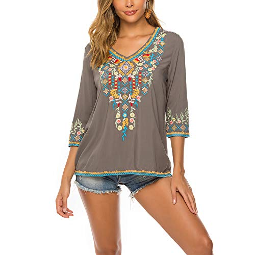 AK Women's Embroidery Mexican Bohemian Cotton Tops Shirt Tunic Blouses (Grey, ()
