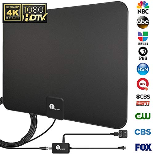 [Upgraded 2019] 1byone Digital Amplified Indoor HD TV Antenna 50-85 Miles Range, Amplifier Signal Booster Support 4K 1080P UHF VHF Freeview HDTV Channels, 10ft Coax Cable
