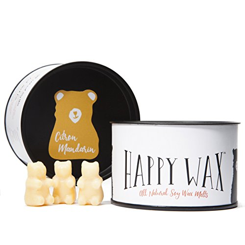 Happy Wax Citron Mandarin Scented Soy Wax Melts - Bear Shapes Perfect for Mixing Melts in Your Warmer - 100 Hours Burn Time in Every Tin!
