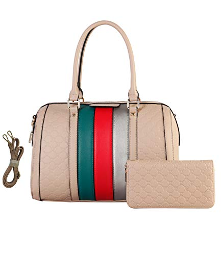 Women's Fashion Handbags Shoulder Bag Designer Satchel Purse Tote Top Handle Bag 2pcs Set with coin Wallets for Ladies Gifts White (TP) ()